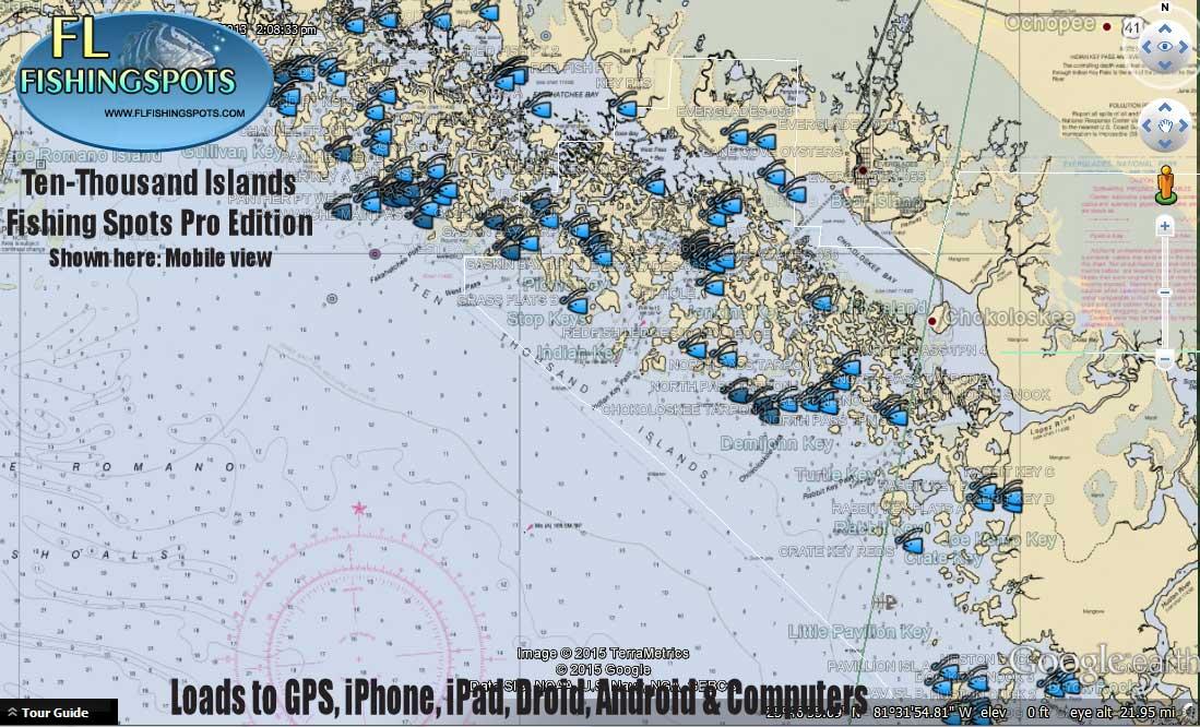 Ten thousand islands fishing map florida fishing maps for Best fishing spots in florida