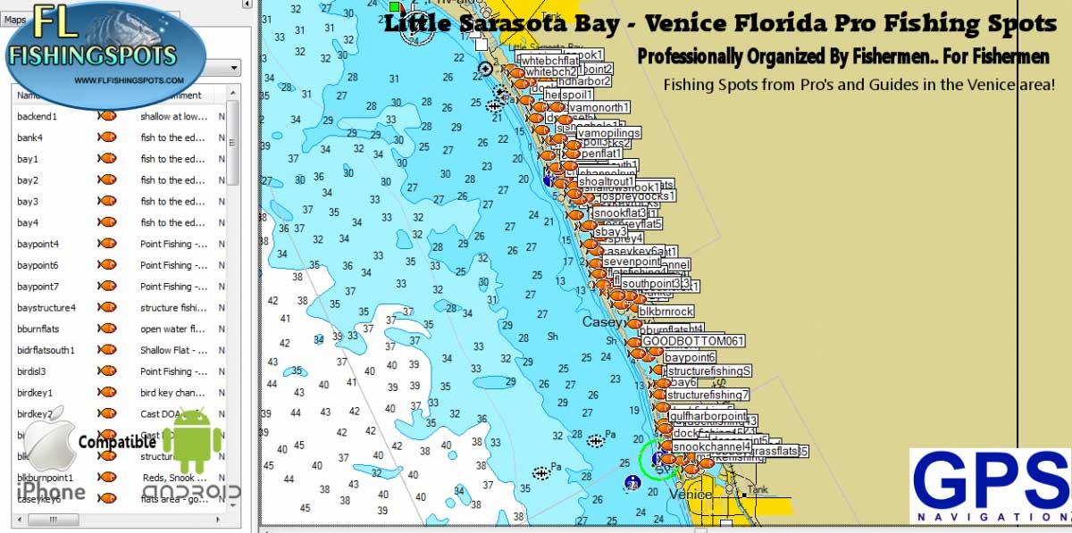Venice Florida Fishing Spots for GPS