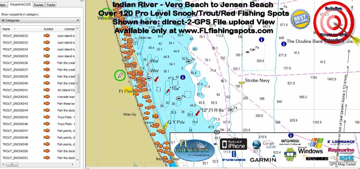 Vero to jensen beach florida fishing spots map florida for Indian river florida fishing