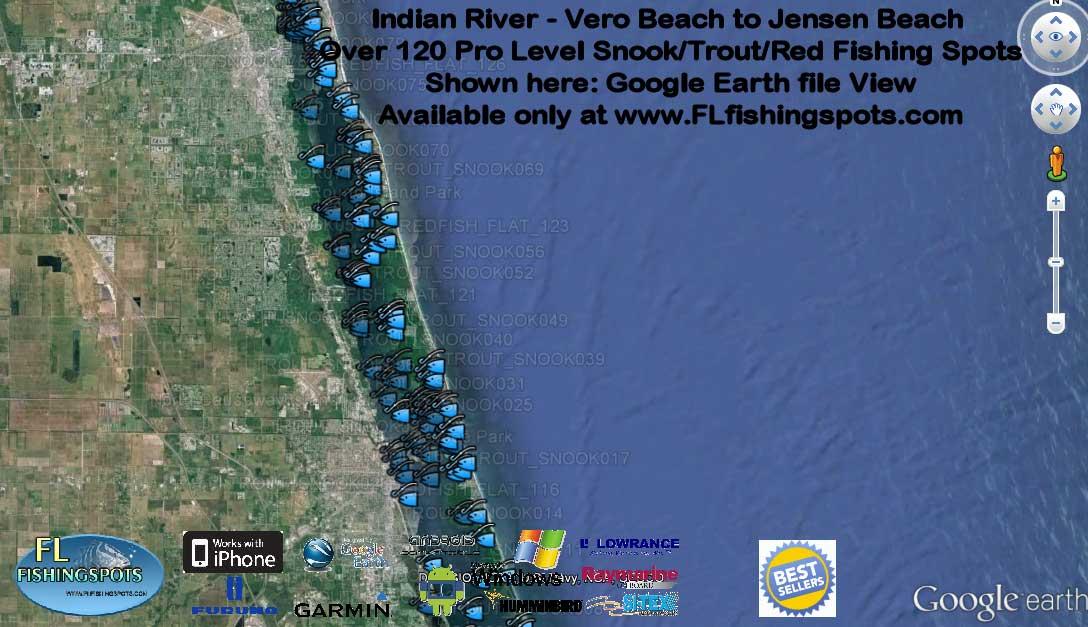 Florida fishing maps with gps coordinates florida for Indian river florida fishing