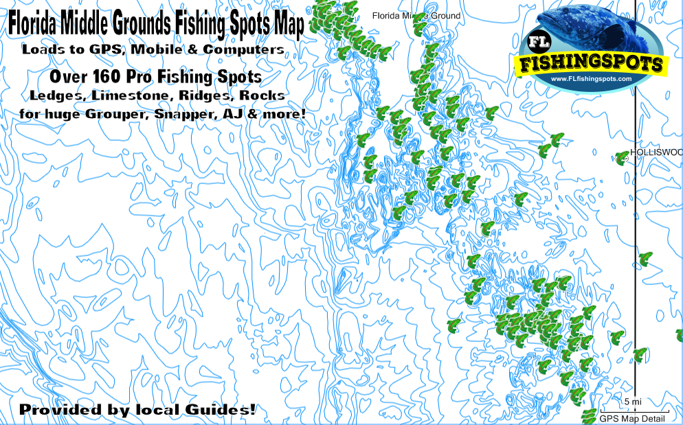 Florida Middle Grounds Fishing Map for GPS