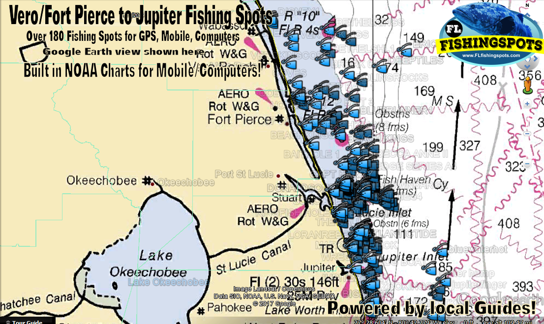 Fort Pierce to Jupiter Fishing Spots Map for GPS
