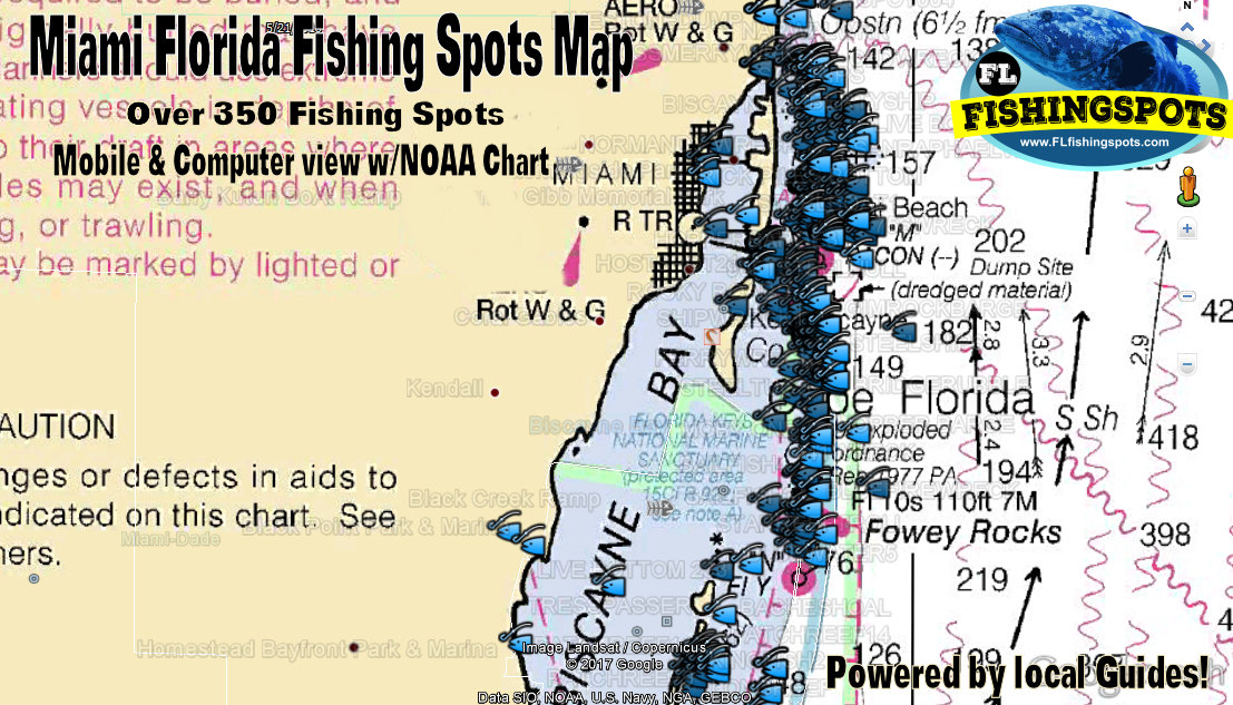 Miami Offshore Fishing Map and Fishing Spots