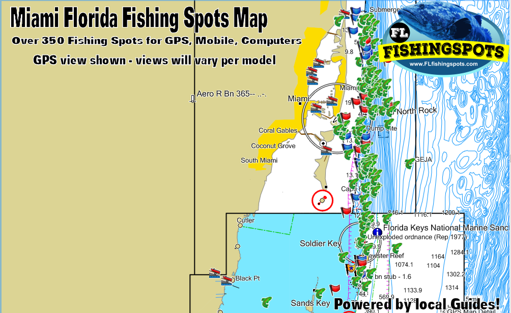 Miami Florida Fishing Spots Map