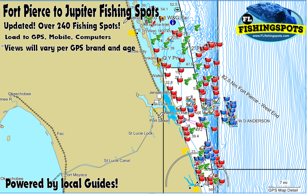 Map Jupiter Florida.Fort Pierce To Jupiter Florida Fishing Spots St Lucie Jupiter