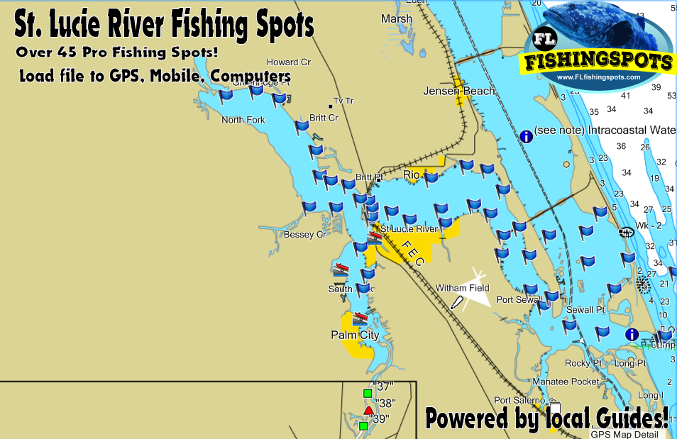 st lucie river florida fishing map fishing spots
