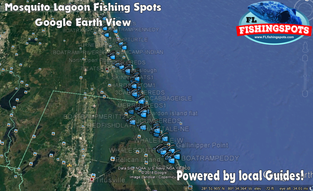 Mosquito lagoon gps fishing map by florida fishing spots for Best fishing spots in florida