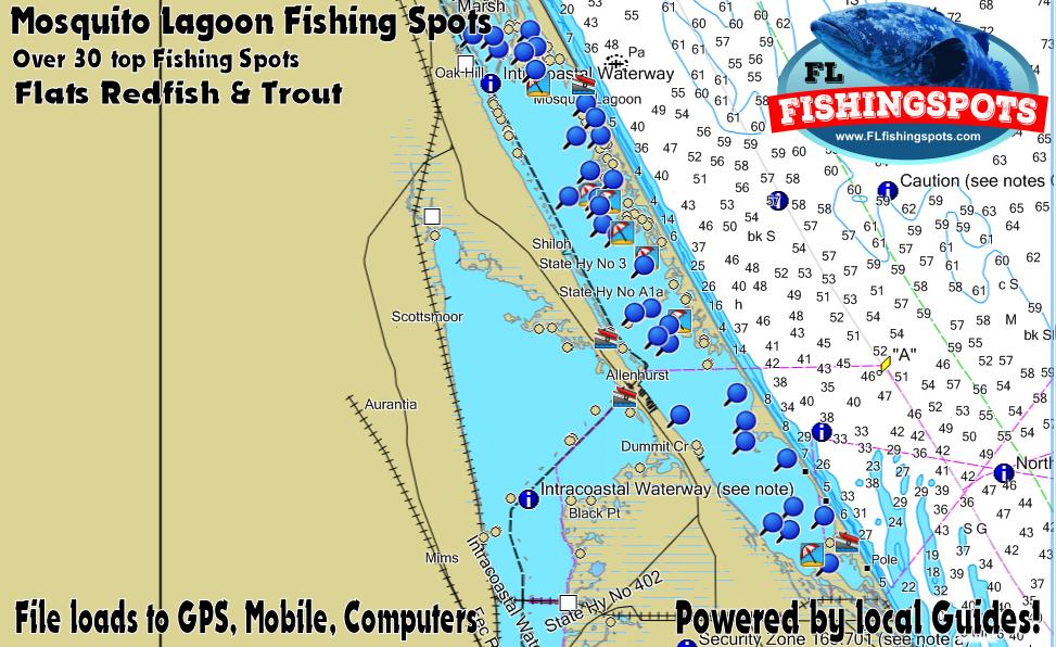 Mosquito lagoon gps fishing map by florida fishing spots for Fishing spots app