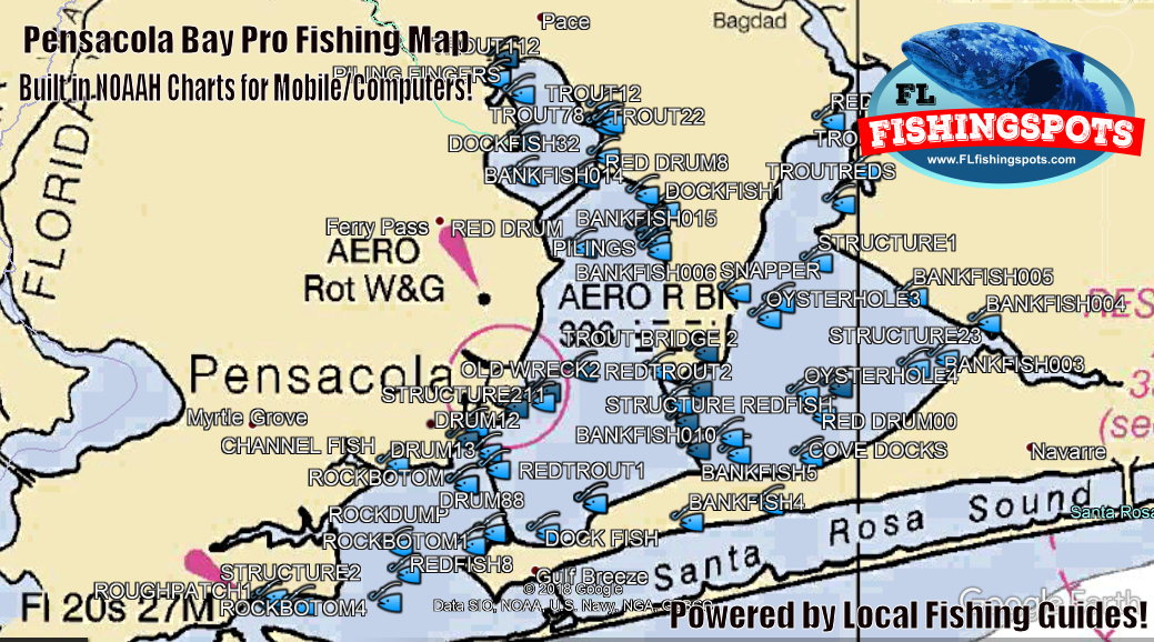 Pensacola bay fishing spots map 1 source for fishing for Bay area fishing spots