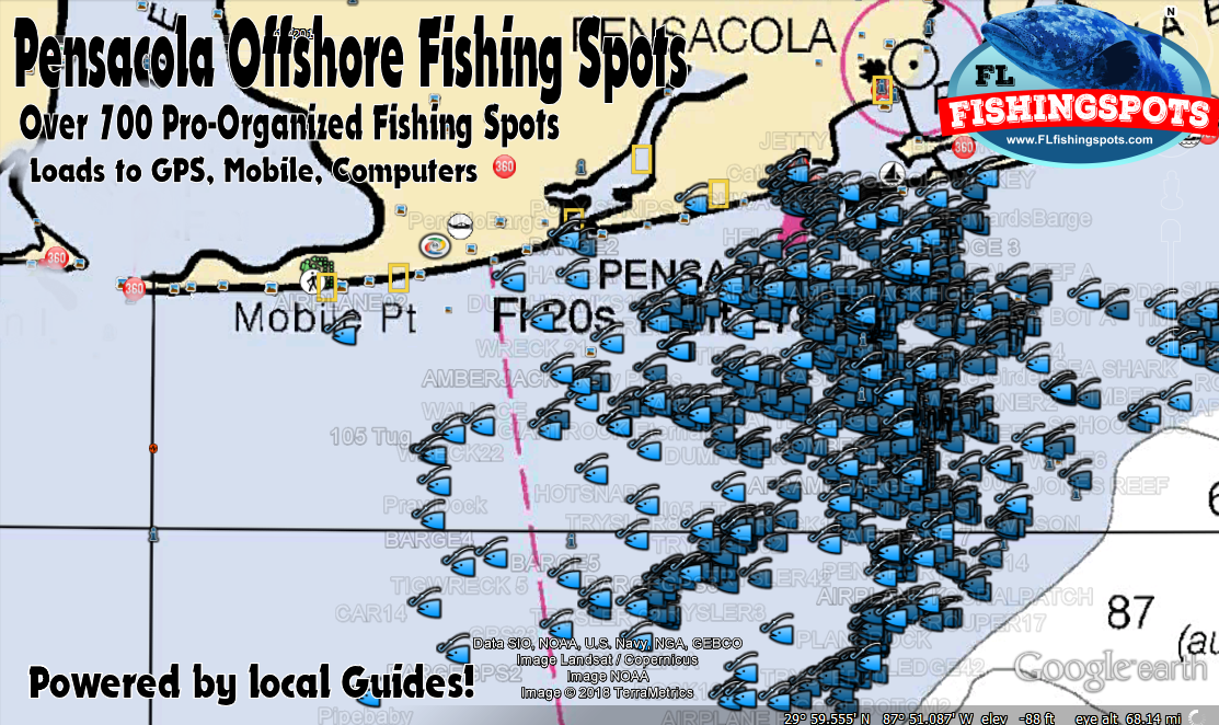Pensacola Florida Fishing Map and Fishing Spots