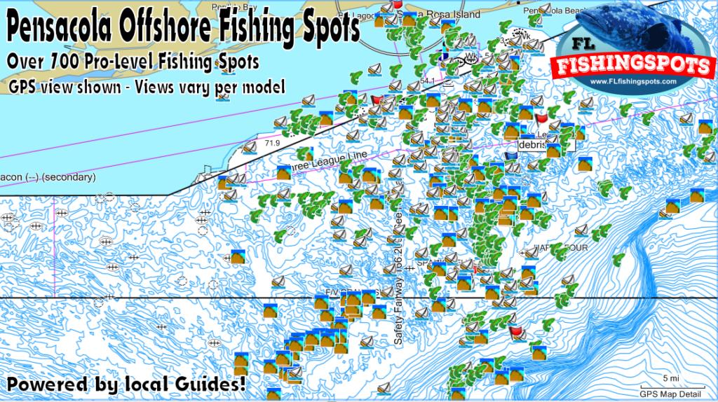 Pensacola Florida Gps Fishing Spots Florida Fishing Maps
