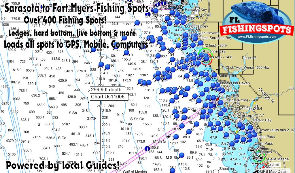 Sarasota Florida to Fort Myers GPS Fishing Spots