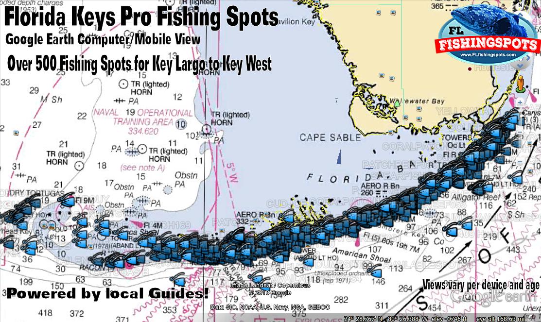 Florida keys gps fishing spots map monroe county fishing for Best fishing spots in florida