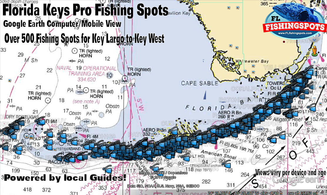 Florida keys gps fishing spots map monroe county fishing for Best fishing spots in the keys