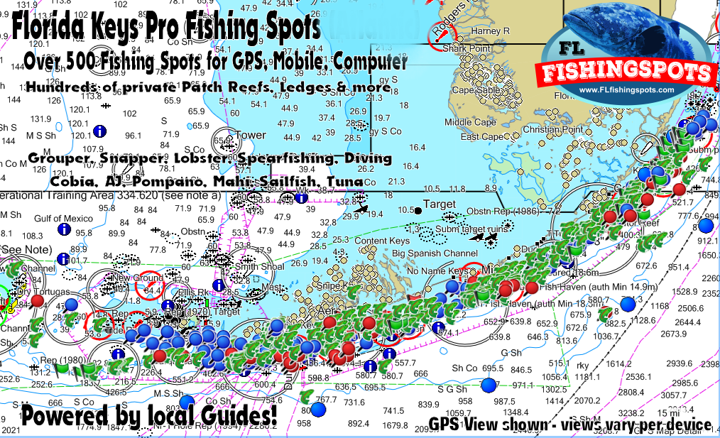 florida keys gps fishing spots map monroe county fishing
