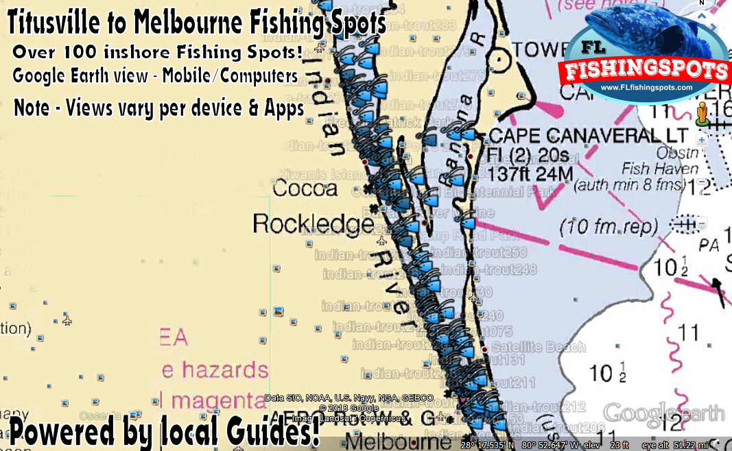 Tiitusville To Melbourne Florida Fishing Spots Indian River Gps