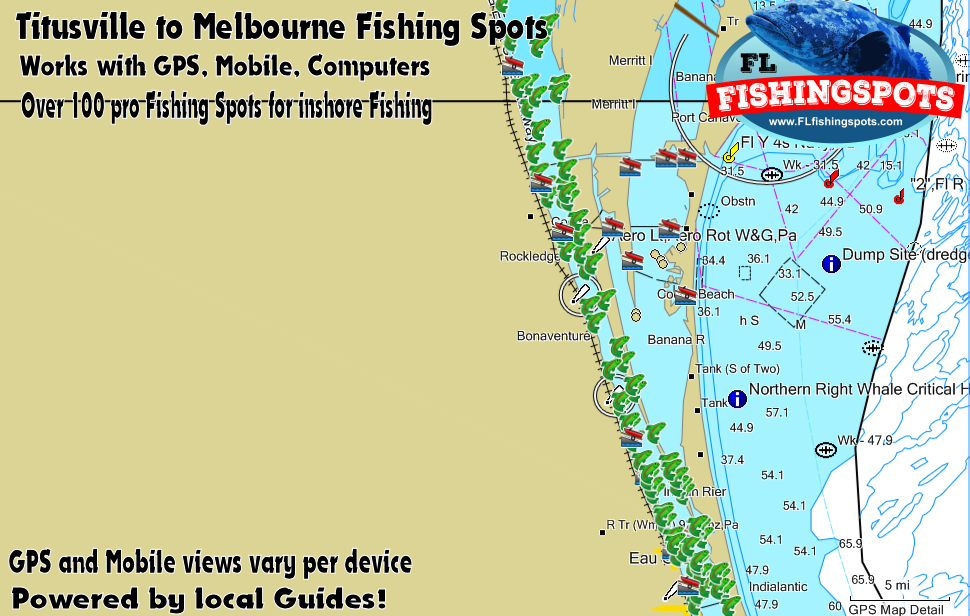 Map Of Florida Melbourne.Tiitusville To Melbourne Florida Fishing Spots Indian River Gps