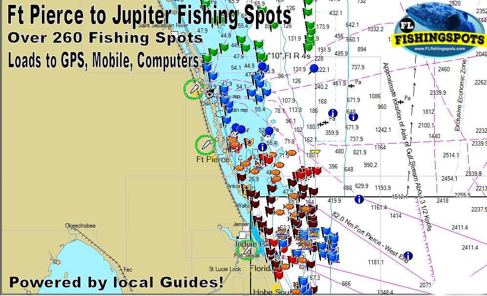 Where Is Jupiter Florida >> Fort Pierce To Jupiter Florida Fishing Spots Gps Coordinates For